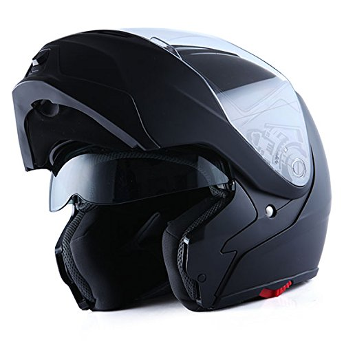 1Storm Motorcycle Street Bike Modular/Flip up Dual Visor/Sun Shield Full Face Helmet (MattBlack, X-Large)