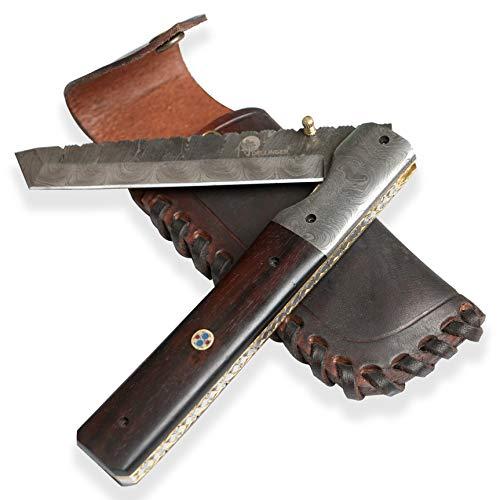Dellinger Tanto LENGE & Damast Taschenmesser & Klappmesser & Damaststahl Messer & Outdoor Damastmesser Folder Knife 14 cm Klinge