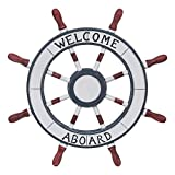 Asense Ornamental Wall Decoration Wooden Nautical Ship Steering Wheel With'Welcome Aboard' Word, 24-inch, White