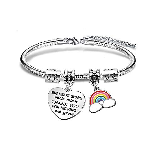 JIYAOANDX for Teacher Bangle Teachers Thank You Gift Charm Rainbow Bracelets Teahcers Day Appreciation Jewellery Big Heart Shape Little Minds