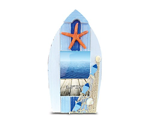 CoTa Global Blue Boat Shaped 3.5' x 5' Photo Frame Nautical Handcrafted Standing Wooden Picture Holder Yacht Cruise Ship Novelty Frame w/ Starfish Bright & Unique for Beach & Aquatic Themed Rooms