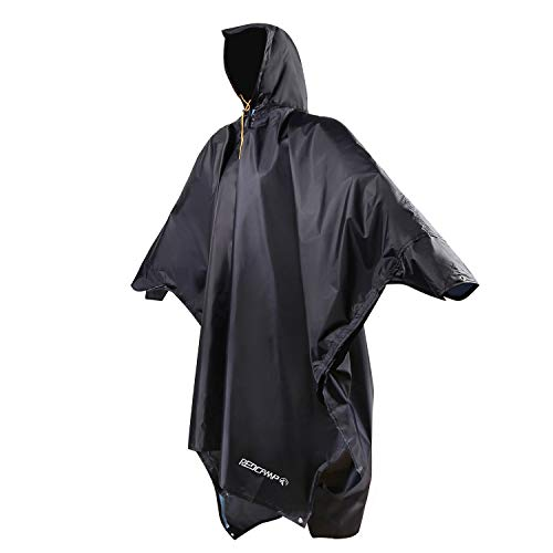 REDCAMP Waterproof Rain Poncho with Hood and Arms for Camping Hiking, 3 in 1 Giant Large Multifunctional Lightweight Reusable Raincoat Poncho for Men Women Adults (Navy XL)