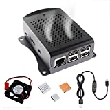 Aluminum Alloy Case for Raspberry Pi 3B+ with USB Switch Cable Fan Heatsink and Screw Driver Raspberry Pi Case for RPi 3B+ RPi 3 RPi 2 B
