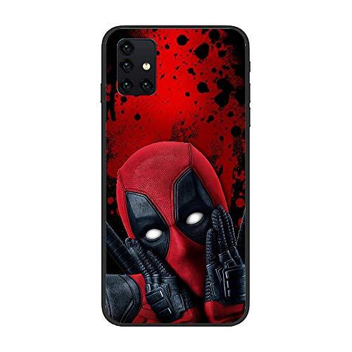 Black Matte Soft Rubber Silikon Liquid Case Back for Samsung Galaxy A51 5G-Deadpool-Comics Funny Red 9