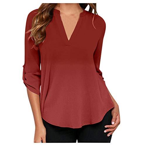 MRULIC Damen Kurzarm T-Shirt Rundhals Ausschnitt Lose Hemd Pullover Sweatshirt Oberteil Tops (EU-40/CN-L, A-Rot)