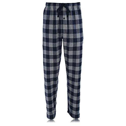 Hanes Ultimate Men's Flannel Pant, Navy Buffalo, X-Large