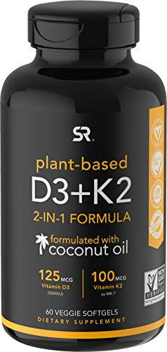 Vitamin D3 + K2 with Organic Coconut Oil | Vegan D3 with Vitamin K2 from Chickpea | Non-GMO & Vegan Certified (60 Veggie Softgels)