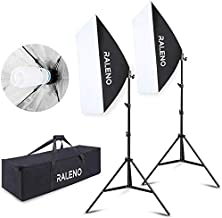 RALENO 800W Softbox Lighting Kit 2X20X28 inch Professional Photography Continuous..