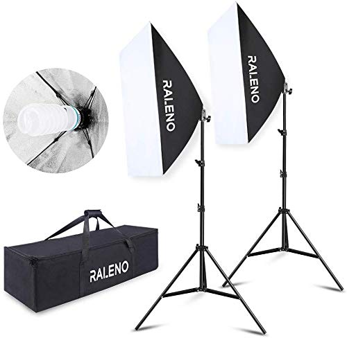 RALENO 800W Softbox Lighting Kit 2X20X28 inch Professional Photography Continuous Lighting Equipment with 2 x 85W E27 Socket 5500K Bulbs for Portraits and Product Shooting