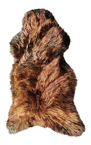 Vogar Tapis en Peau de Mouton véritable avec Laine Douce et épaisse VG-SH020, Brun Dore 90-100cm