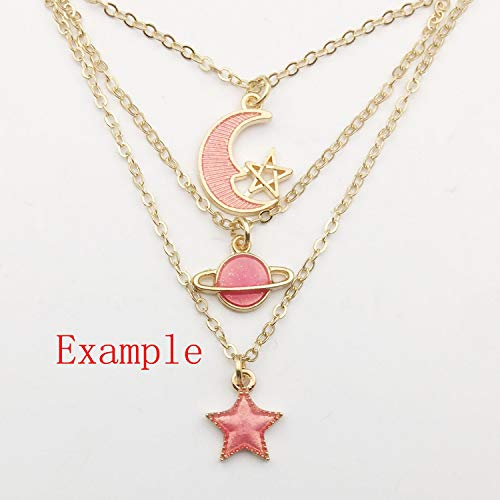 50 Pcs Assorted Moon Star Charms Pendant Jewelry Pendant DIY Necklace Craft