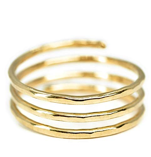 14k gold filled Adjustable wire wrap ring, thumb ring, pregnancy ring, Handmade in USA, (MEDIUM size 8)