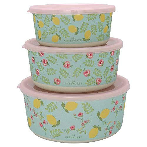 GreenGate - Boxen - Dosen - Aufbewahrungsdosen - Limona/Zitronen - Bambus - 3 er Set -