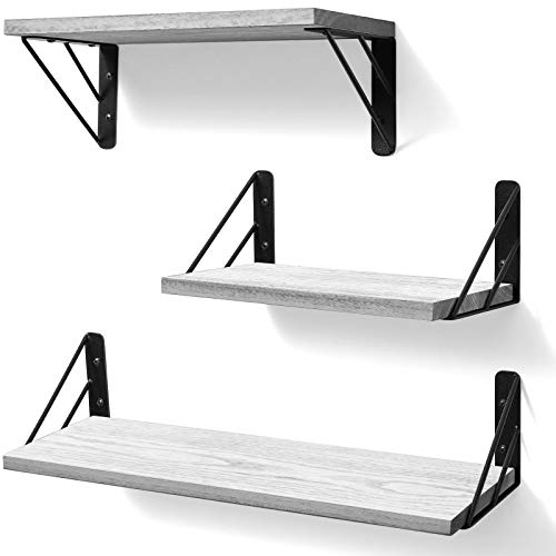 BAYKA Floating Shelves Wall Mounted, Rustic Wood Wall Shelves Decor Set of 3 for Bedroom, Bathroom, Living Room, Kitchen, Office, Laundry Room (White)