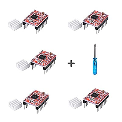 A4988 Stepper Motor Driver Module 5pcs Stepstick with Headsink for Arduino, 3D Printer Reprap, CNC Machines, Robots