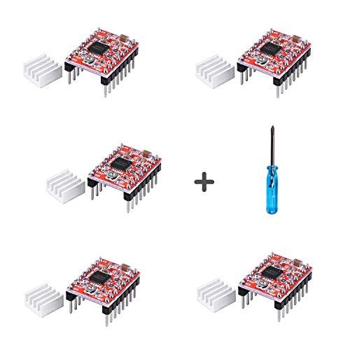 A4988 Stepper Motor Driver Module 5pcs Stepstick with Headsink for Arduino, 3D Printer Reprap, CNC Machines, Robots EU045