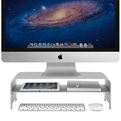 Vaydeer 2 Ebenen Monitorständer Aluminium Monitor Stand Riser mit Stauraum, Metall Monitor Ständer Unterstützung bis zu 27 Zoll für PC, MacBook, Laptops - Silber, Klein