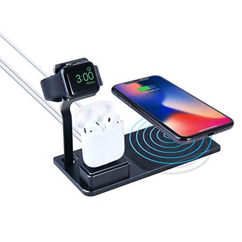 LAHappy Estación de Carga Inalámbrica 3 en 1 Cargador inducción rápida de 10 W para iPhone 12/12 Pro/12 Pro Max/12 Mini/11/11 Pro MAX/X/XS MAX, Apple Watch Series, AirPods Pro,Negro