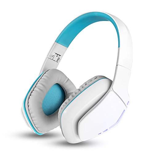 ZDZHU Bluetooth Kopfhörer Faltbare V4.1 Gaming Headset Ohrhörer Freisprecheinrichtung HiFi Stereo Kopfhörer Mit Mikrofon Für iPhone/Samsung/Laptop Computer & Andere Bluetooth Geräte,White