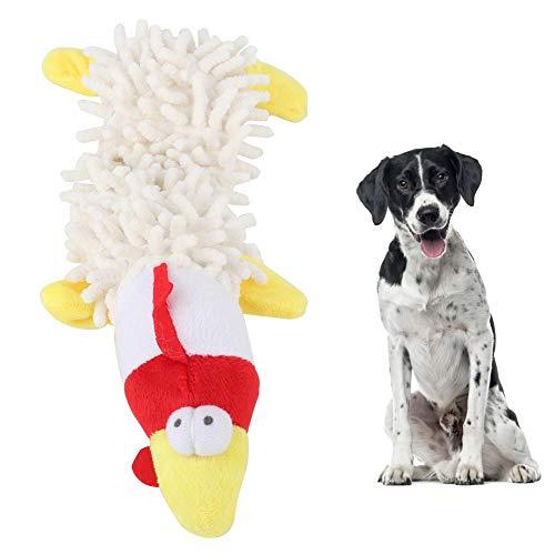 Peluche para Mascotas en Forma de Animal Lindo con Dispositivo de Sonido Dientes molares Jugando Morder Juguete para Masticar para Gatos Perros(Pollo Blanco)