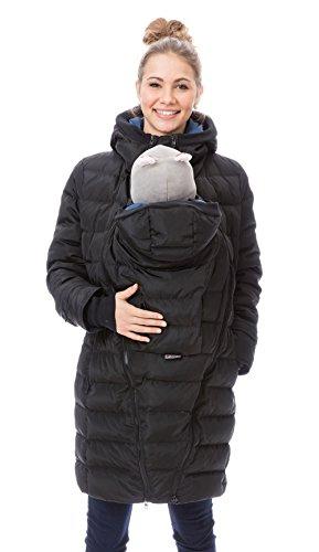 GoFuture Damen Tragejacke für Mama und Baby 4in1 Känguru Jacke Umstandsjacke Daunen Winter GF2265XA5 Schwarz mit blauem Innenfutter - 6