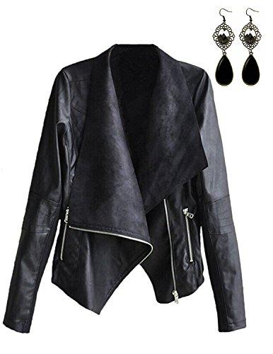 STL Womens Faux Leather Jackets Slim Biker Moto Bomber PU Zipper Casual Punk Black Short Coat Outwear Oversized