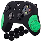 YoRHa Thickened Rubber Silicone Cover Skin Case 3D Letters Massage Grip for Xbox One S/X Controller x 1(Black&Green) with PRO Thumb Grips x 8
