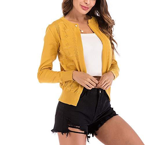 FRAUIT Strickjacke Damen Langarm Blazer Jacke Einfarbige Mantel Herbst Winter Frauen Geschäft Mantel Perle Knopf Durchbrochene Cardigan Kurzstrickjacke mit Rundhalsausschnitt