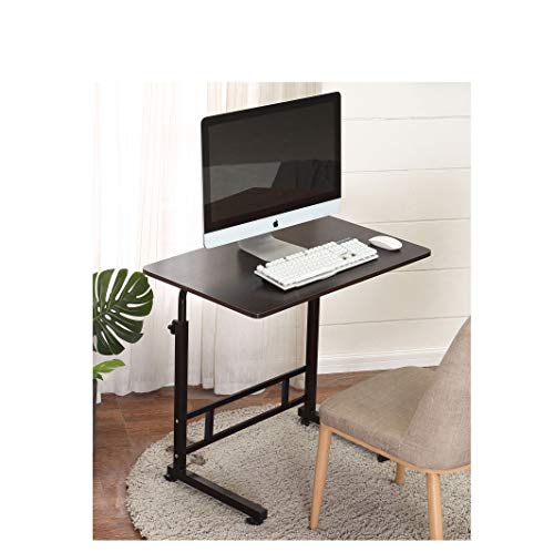Akway Mobile Laptop Desk Cart 31.5 x 19.6 inches Height Adjustable Small Rolling Desk Laptop Desk Stand Bed Table for Eating and Laptops, Black