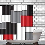 Ad4ssdu4 Cortina de ducha impermeable, color negro, rojo, gris y blanco