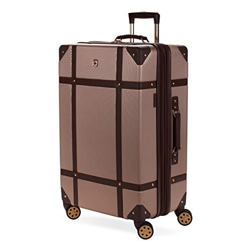 SWISSGEAR 7739 Trunk, Hardside Spinner Luggage, Large Checked Suitcase - Blush