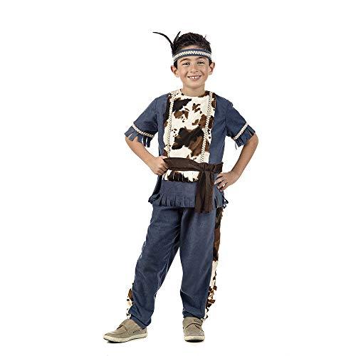 Elbenwald Indiaans kostuum jongens 3-delig kinderkostuum bovenstuk, broek, hoofdband blauw