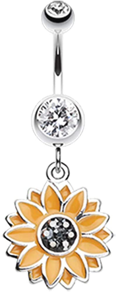 Clear CZ Crystal Summer Sunflower Dangle Belly Button Navel Ring