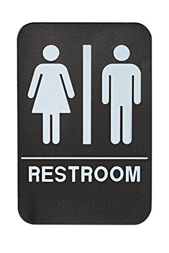 "Alpine Industries Unisex Braille Bathroom Restroom Sign, Black/White, ADA Compliant 6""x9"""