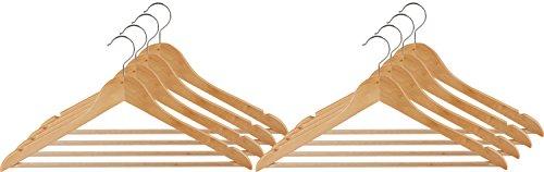 Wenko Formbügel Eco, 8er Set Kleiderbügel, Hosensteg, Rockeinkerbungen, Holz, 45 x 23.5 x 1.2 cm, Braun