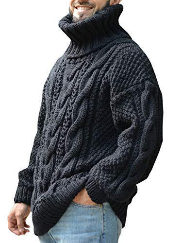 Gafeng Mens Chunky Turtleneck Pullover Sweater Cable Ribbed Knit Slim Fit Winter Thermal Workout Sweater Black