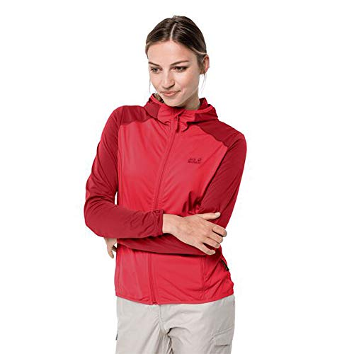 Jack Wolfskin Hydro Hooded Light Veste Femme, Tulip Red, FR : S (Taille Fabricant : S)