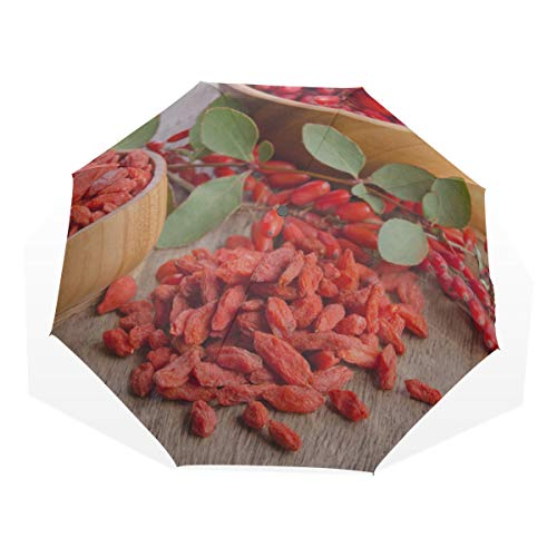 Faltbarer Regenschirm für Reisen Chinesische rote Goji-Beeren 3 Faltbare Kunstschirme (außerhalb des Drucks Cooler Regenschirm Kompakter Kinder Sonnenschirm Mädchen Kompakter Regenschirm