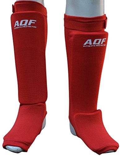 AQF Schienbeinschoner Boxen MMA Kampfsport Schienbeinschutz 2er-Paar Kickboxen Schienbeinschützer Shin Guard (Rot, S)