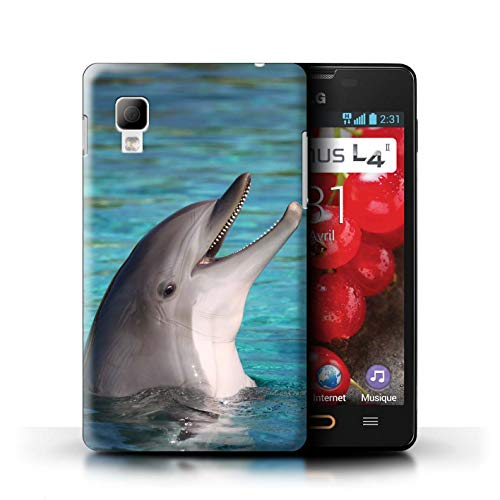 Stuff4® Hülle/Case für LG Optimus L4 II/E440 / Nettes Lachen Muster/Delfine Meereslebens Kollektion