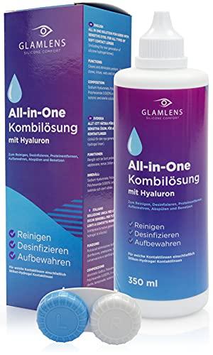 Glamlens Kontaktlinsen Flüssigkeit MIT HYALURON - 350ml Kontaktlinsenflüssigkeit Pflegemittel ALL IN ONE Kombilösung für weiche Linsen mit Behälter