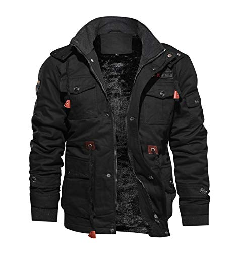 TACVASEN Jackets Men Winter Army Military Jacket Outdoor Cotton Coat Black, US L/Tag 4XL