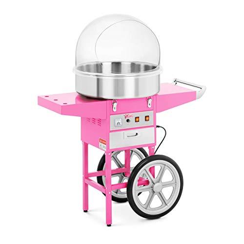 Royal Catering Máquina De Algodón De Azúcar con Carrito RCZC-1200-P (1200 W, Ø 52 cm, 1 unidad por minuto, Control separado del termostato y la rotación, Incl. cúpula antisalpicadura) Rosa