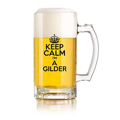 Restaurante de jarra de cerveza de vidrio, jarra de cerveza de juego de pelota Keep Calm Im A Gilder Theme