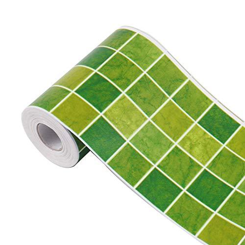 Borde de papel de pared 3D con revestimiento de pared autoadhesivo, bordes de PVC para cocina, baño, dormitorio, papel de decoración de pared, 3.94 pulgadas por 32.8 pies (cuadrado verde)