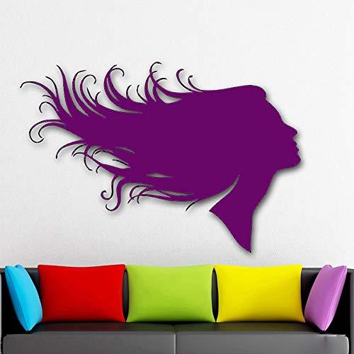 Zaosan Silueta niña calcomanía de Pared Peinado salón de Belleza Etiqueta de la Pared barbería extraíble Arte Mural decoración del hogar42x62 cm