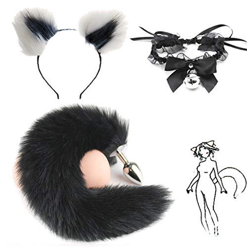 3 piezas esponjosas de cola de zorro sintética negra B-ü~t`t Pl-ù`g T-ö-ys y multicolor de felpa orejas de gato diadema y cuello de campana de encaje para disfraz de cosplay (S, blanco y gris)