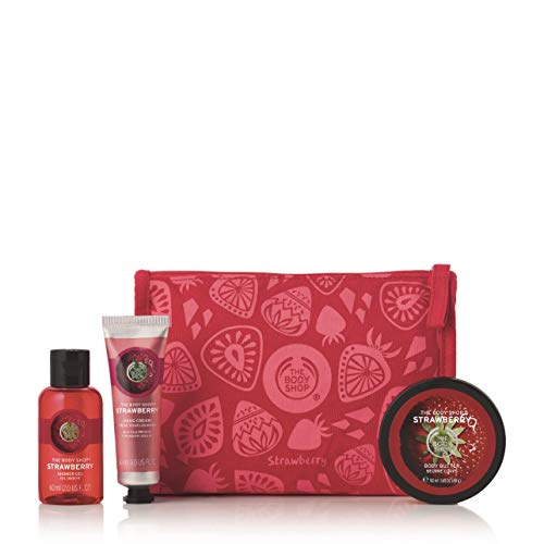 The Body Shop Strawberry Beauty Bag Gift Set, Includes Our Signature Strawberry Body Butter Enriched With Community Trade Shea Butter, 3Piece