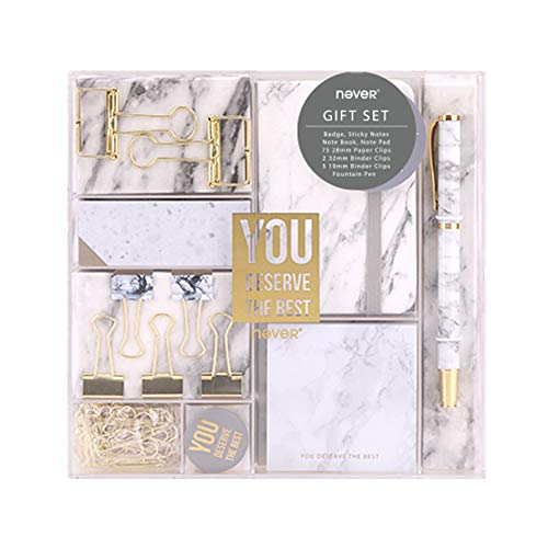 Fashion Office Value Pack Marble Tone School Stationery Gift Set with Mini Notebook, Sticky Notes, Note Cube, Paper Binder Clips and Fountain Pen (Marble Tone)