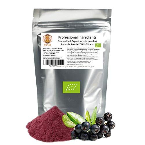 Bayas de aronia ECO en polvo liofilizada - 200 g. Sin azúcar - Sin aditivos. Aronia: el acai europeo. Fibra alimentaria, vitamina C y antioxidantes.